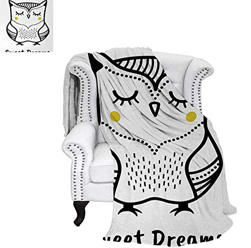 (Digital Printing Blanket Hand Drawn Monochrome Owl Doodle Composition with Dots Animal Summer Quilt Comforter 50