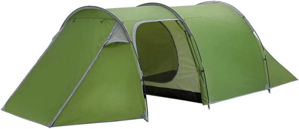 二重層のトンネルテント、3-4人のキャンプレインプルーフテント超軽量キャンプテント防水1ベッドルーム1リビングルーム 緑