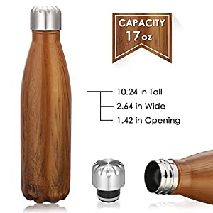 King Do Way Double Wall Vacuum Insulated Stainless Steel Sports Water Bottle, Dark Yellow Wood, 17 Ounce