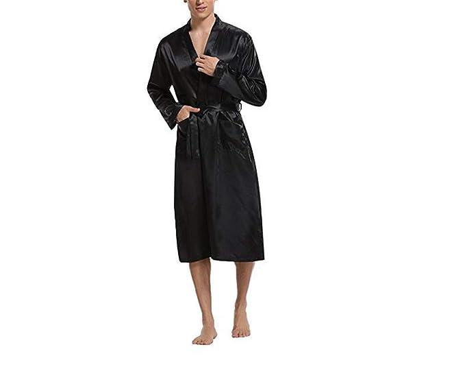New Black Men Satin Rayon Robe Bata de Color Sólido Baño Ropa de Dormir Lounge Casual Hombre Camisón Ropa de Dormir Ropa de Casa: Amazon.es: Ropa y ...