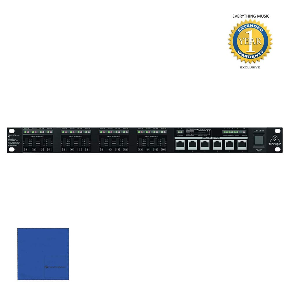 Behringer Powerplay P16-I 16-Channel 19'' Input Module with Microfiber and 1 Year Everything Music Extended Warranty