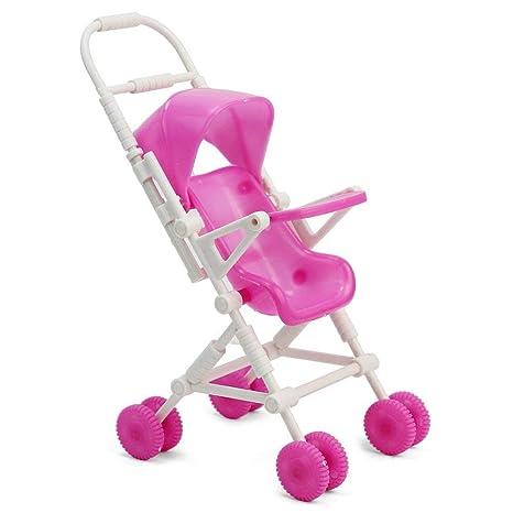 Ndier Dollhouse Cochecito de bebé Modelo plástico Mini Carro Carro para Barbie muñeca Accesorios de Muebles