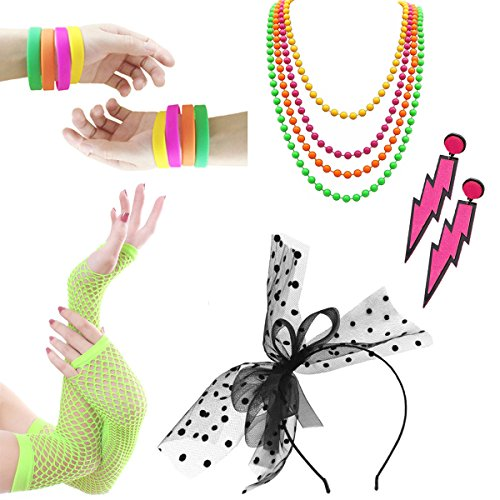 Women Costume 80s Fancy Outfit Accessories Set -