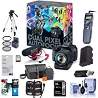 Canon EOS 80D DSLR Video Creator Kit - with EF-S18-135/3.5-5.6 IS USM Lens - Rode VIDEOMIC GO Mic, 32GB SD Card - Power Zoom Adapter with Accessory Bundle