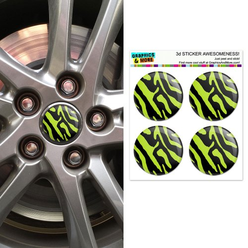 Zebra Print Black Lime Green Wheel Center Cap 3D Domed Stickers Badges - Set of ()