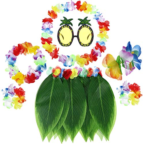 7 Piece Boys Girls Hawaiian Flowers Leaf Grass Skirts Ti Leaf Hula Skirt Hairclip Sunglasses Garland Costume Set (Color A) -