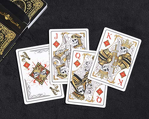 Deck Card Designs - Sleek Original Hand Drawn Designs Dead Money PVC Playing Cards-Water Proof, Bendable. Perfect Casino or Texas Hold'em Las Vegas Adult Parties or Game Night. Quality Plastic Deck. Pool/Lake Fun