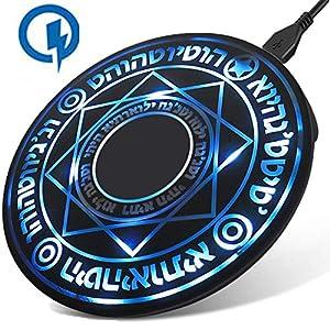 魔法陣 Qi ワイヤレス充電器 10W 急速 軽量 2.4A 超薄型 急速充電器 ワイヤレスチャージャー