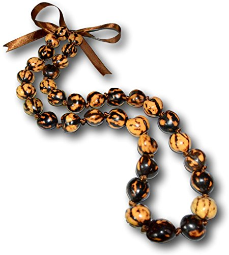 Native Treasure - 18 inch Genuine Tropical Brown Tiger Kukui Nut Necklace from the Philippines