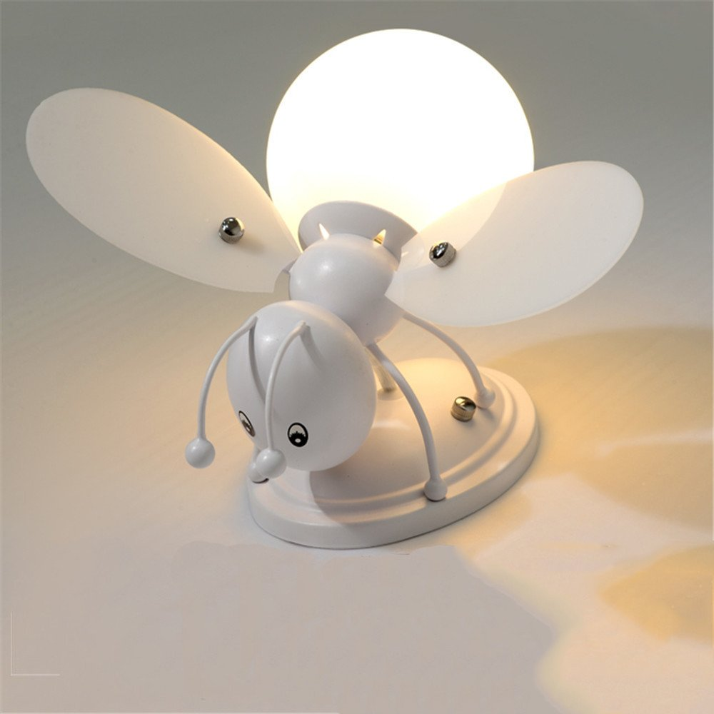 Z&MDH Bee LED wall lamp, children bedroom bedroom living room decorative wall lamp, length 28cm width 28cm high 17cm, white