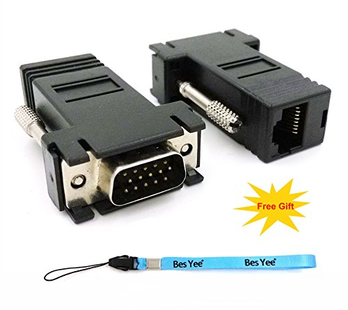 BesYee VGA Extender to CAT5 CAT6 RJ45 Cable Adapter, VGA 15 Pin Male to Rj45 Female Jack Coupler Adapter (pack of - Jack Vga