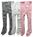 Toptim Baby Girls' Seamless Socks 3 Pack Cable-Knit Tights for Toddlers Child (12-24M)