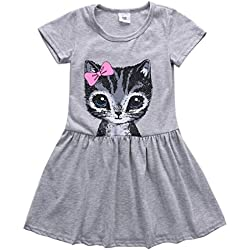GUAngqi Toddler Girls Dress Skirts with Cat Pattern,Gray,120