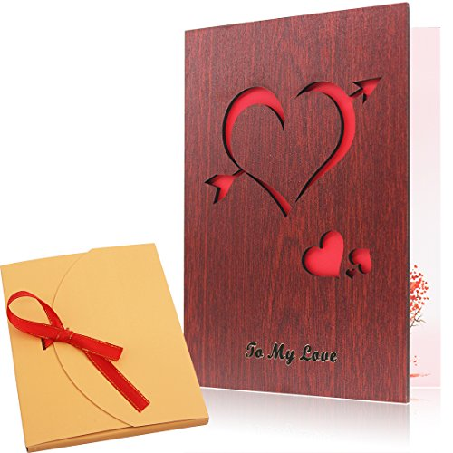 First Color Photo (Cupid's Arrow&Love Pattern Wood Valentines Day Love Card Handmade The Best Valentine's Day Greeting Card To She or He)
