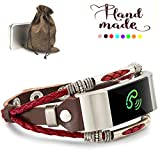 Marval.P Compatible with Fitbit Charge 2 Bands, Handmade Leather DIY Band, Replacement Bracelet Strap, Wristbands with Size, Fashion Wrist Band Straps