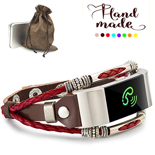 Marval.P Compatible with Fitbit Charge 2/ HR Bands, Handmade Leather DIY Band, Replacement Bracelet Strap, Wristbands with Adjustable Size, Fashion Wrist Band Straps (Bloody Mary Red@) -