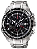 Men's Stainless Steel Edifice Black Dial Alarm Chronograph Tachymeter
