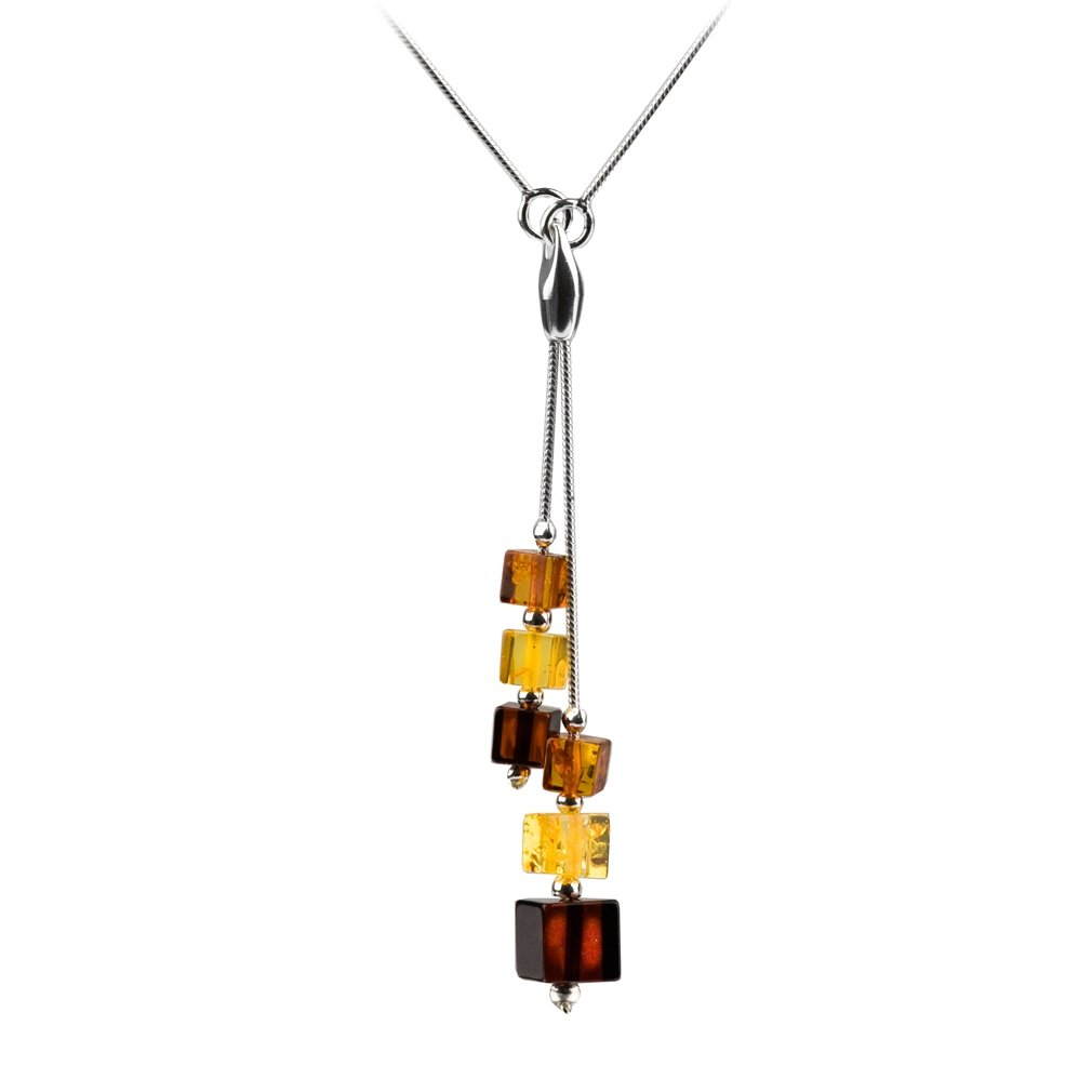 Sterling Silver Multicolor Amber Cube Necklace 18 Inches
