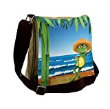 Lunarable Animal Messenger Bag, Frog on a Sandy Beach Summer, Unisex Cross-body