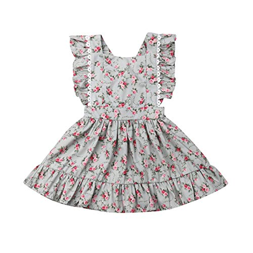 Baby Girl Romper Princess Dress Outfits Sister Matching Clothing Sleeveless Summer Floral Ruffle Lace (Dress, 3-4 Years)