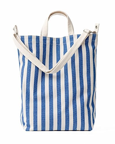 BAGGU Duck Bag Canvas Tote, Essential Everyday Tote, Spacious and Roomy, Summer Stripe