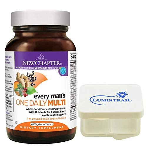 New Chapter Every Man's One Daily, Mens Multivitamin with Probiotics, Vitamin D3, Non-GMO - 48 Vegetarian Tablets Bundle with a Lumintrail Pill Case ()