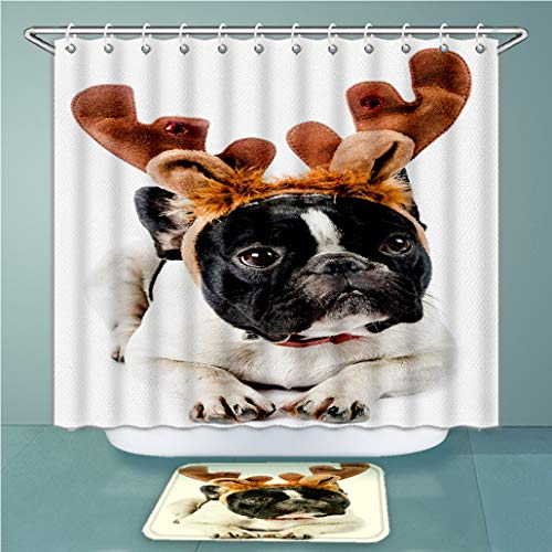 Custom Shower Curtains and Bath Rugs Set French Bulldog with Reindeer Antlers Isolated On White in Studio Color and Vert Bath Curtains and Doormats Suit for Bathroom Extra Wide Size 79