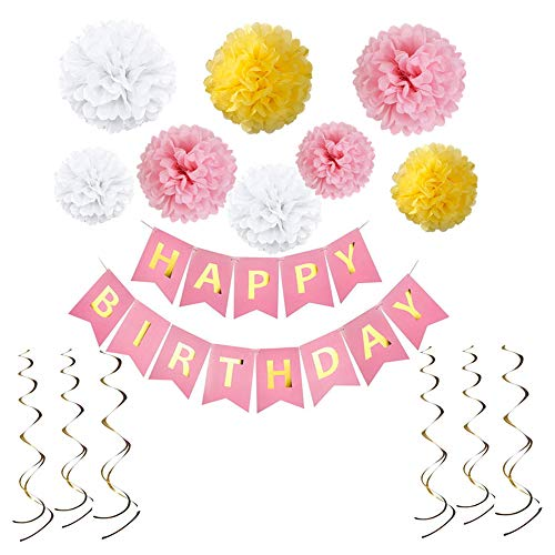 Birthday Decorations with Happy Birthday Banner - Birthday Party Pack Pastel - 8pcs Pom Poms Flowers Kit, 6pcs Hanging Swirls - Birthday Party Supplies