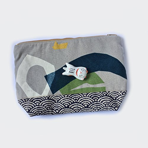 Linen Large Makeup Bag Canvas Zip Pouch Minimal- Abstract Watercolour x Traditional Japanese Wave (Wave Knitting Bag)