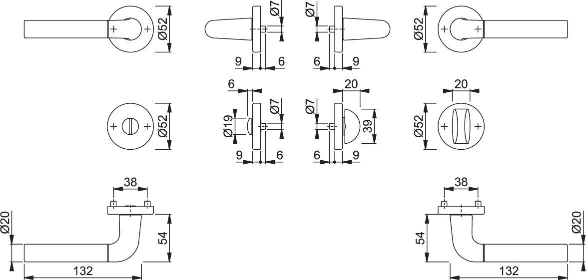 Hoppe Bremen Aluminium Rosettengarnitur F49 // F9-2 verchromt // Alu Stahl matt 1505//42KV//42KVS Bad//WC-Garnitur Griff//Griff SK//OL Schlitzkopf//Olive