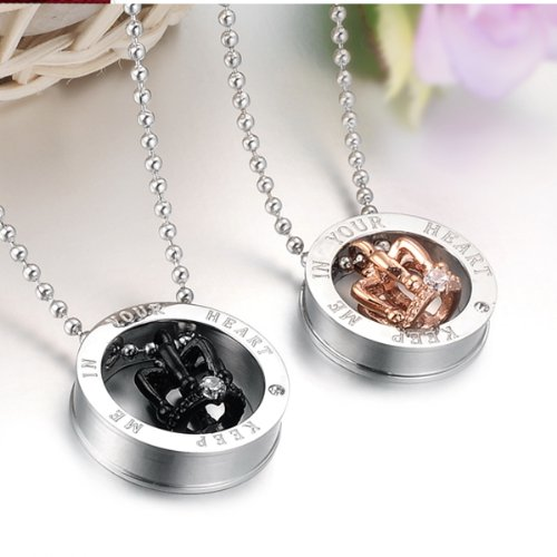 HQLA His or Hers Matching Set 2PC Titanium Stainless Steel Black/Rose Gold Plated Crown w/Cz Crystal in Silver Circle Couple Pendant Necklace Set for Lover Valentine By, (Keep Me in Your Heart) by HQLA (Image #1)