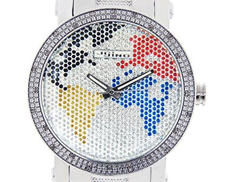 JOJINO Real Diamond Watch Mens World Map Silver Tone Case Metal Band MJ-1030 ...