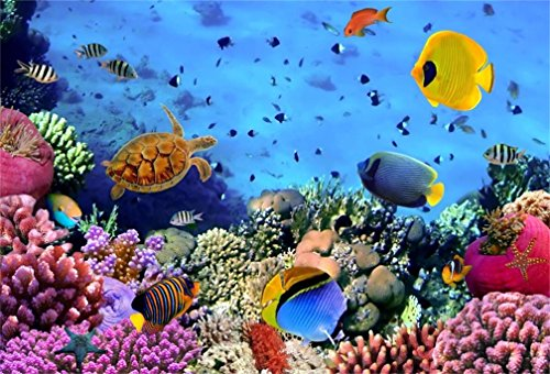 AOFOTO 5x3ft Undersea Coral And Fish Background Colorful Marine Aquarium Photography Backdrop Sea Diving Holiday Photo Studio Props Vinyl Wallpaper Kid Girl Baby Child Infant Boy Artistic Portrait