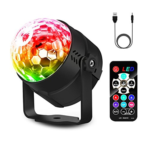 Party Lights Disco Ball Sound Activated Disco lights, Venoro 4W 7 Colors Stage Light RGB Lights with Remote Control for Bar Club DJ Karaoke Chrismas Wedding Show Birthday Decoration -