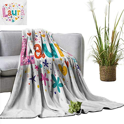 Laura Blanket Sheets Baby Girl Name with Vintage Doodle Style Flowers and Stars Colorful Illustration All Season for Couch or Bed 60