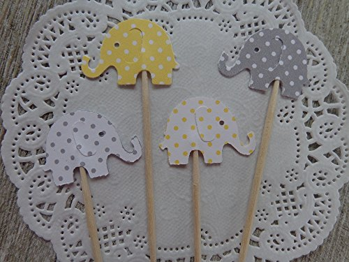 Light Yellow and Grey Polka Dot Elephant Cupcake Toppers – Food Picks – Yellow Gray and White Polka Dot Elephants – Baby Shower Appetizer Picks – Gend…