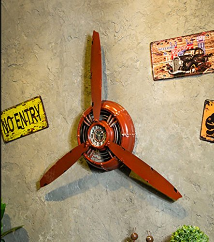 Vintage Industrial Style Iron Wall Clock,3D Aircraft Propeller