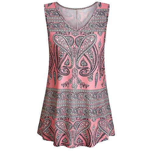 Sumen Women Summer Tank Tops Retro Printed Tunic Sleeveless V Neck T Shirts Pleats Blouse Pink