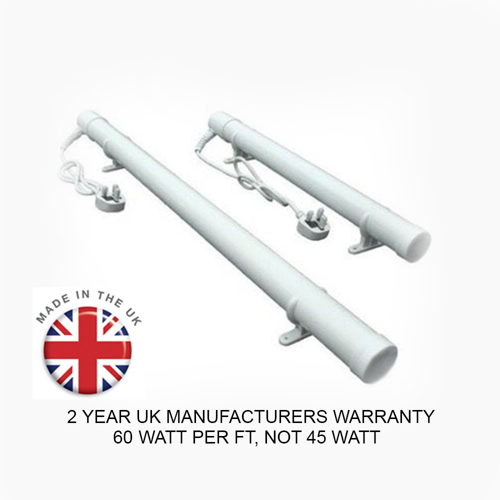 4ft Tube Heater   240 Watts   Made in the UK   2 Year UK Warranty   Ideal for Heating and Winter Frost Predection for your Greenhouse, Conservatory, Loft, Attic, Cellar, Basement, Garage, Caravan, Motorhome, Boat, Shed or Kennel