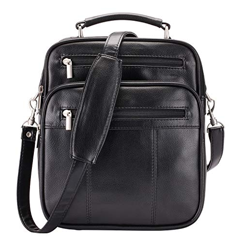 (Jack&Chris Mens PU Leather Crossbody Single-Shoulder Briefcase Messenger Handbag,MBYX020 )