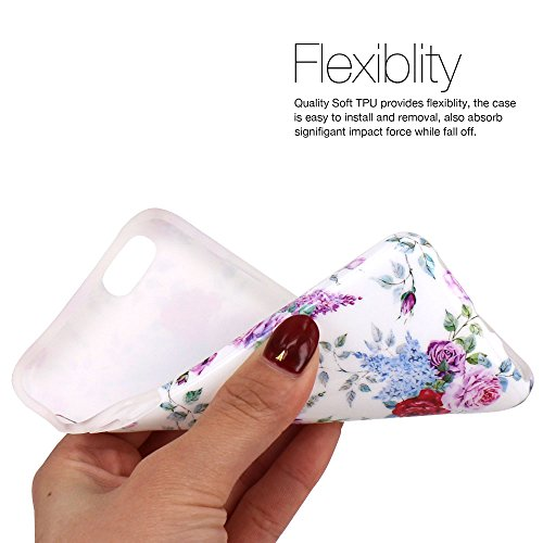 iPhone 6 Hülle, LOVONKI Rot Lila Pfingstrose Serie Flexible TPU Silikon Schutz Handy Hülle Handytasche HandyHülle Etui Schale Case Cover Tasche Schutzhülle für iPhone 6 6S