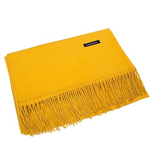 Gallity Women Warm Cashmere Blend Pashmina Solid Tassel Shawl Wrap Scarves Winter 70m x 180cm (Yellow)