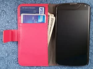 High Quality Vegan Leather Folio Wallet Case with Magnetic Enclosure and Kickstand for LG Nexus 4 E960 - Red
