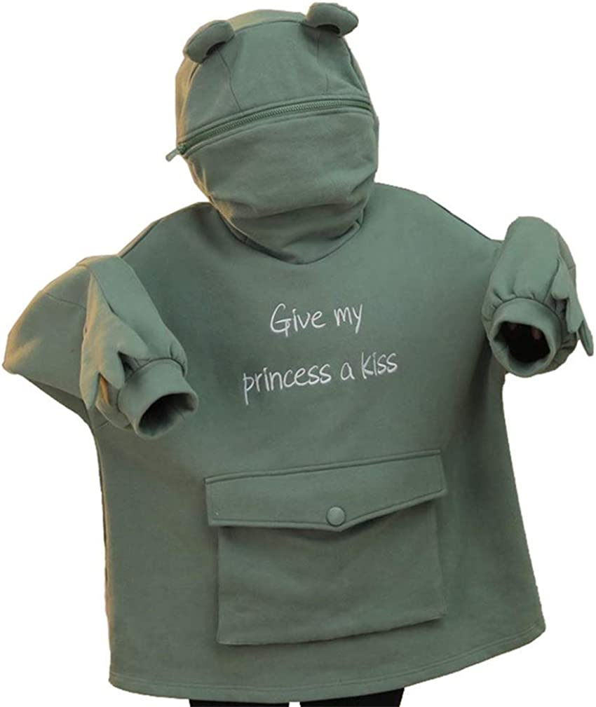 YEMOCILE Give My Princess a Kiss Cute Frog Green Pullovers Hoodie Women Sweatshirt