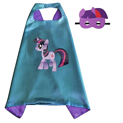 Over 35+ Styles Superhero Halloween Party Cape and Mask Set for Kids (Twilight Sparkle) (Girls Twilight Witch Costume)