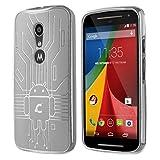 Moto G2 Case, Cruzerlite Bugdroid Circuit TPU Case Compatible with Compatible with Motorola Moto G (2nd Generation) - Clear