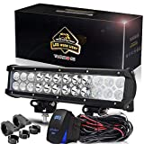 TURBOSII LED Work Light Bar 12Inch 72W Offroad Led Driving Fog Lights Bumper Grill Lamps Spot Flood Combo Waterproof 7200LM + Tube Clamp Mounting Brackets + Wiring For Jeep Truck UTV ATV Polaris RZR