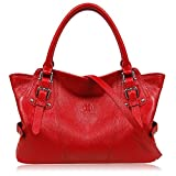 YOLANDO Women Genuine Leather Zipper Tote Bag Top-handle Handbags Large Capacity Ladies' Purse YTG03 (Red)