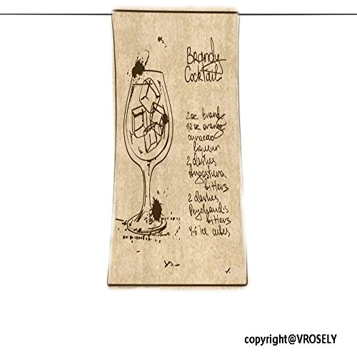VROSELV Custom Towel Soft and Comfortable Beach Towel-illustration with hand drawn sketch brandy cocktail including recipe and in Design Hand Towel Bath Towels For Home Outdoor Travel Use 11.7