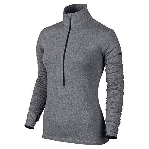 Nike Womens Pro Hyperwarme Half-zip 3.0 Training Top Carbon Heather / Zwart / Zwart